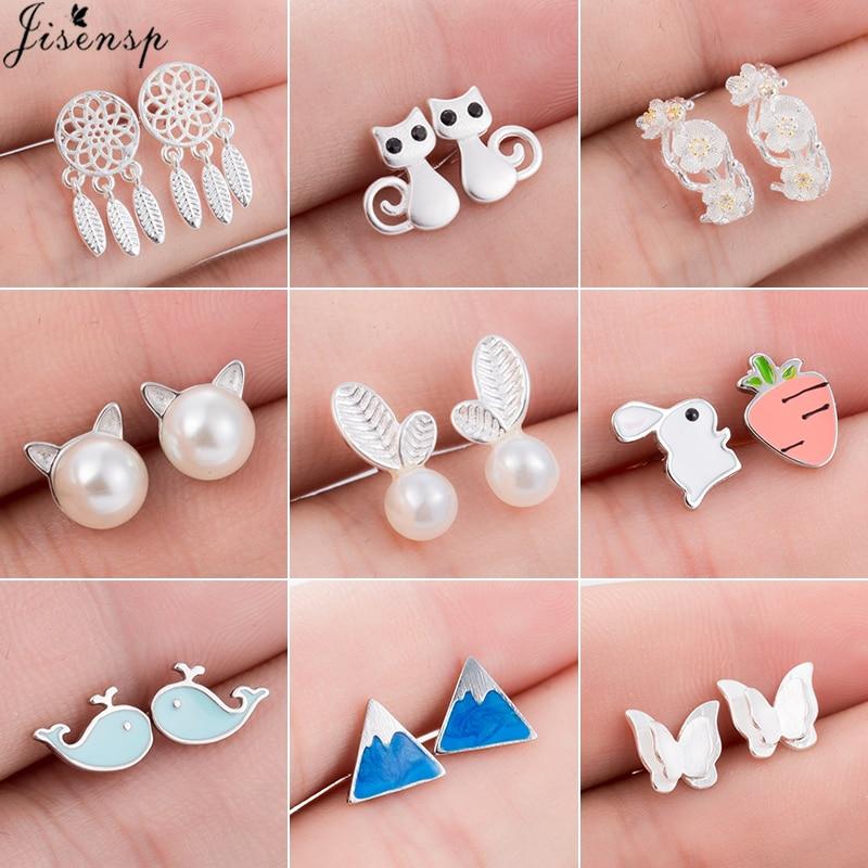 Jisensp Trendy Simulated Pearl Cat Stud Earrings for Women Minimalist Butterfly Whale Triangle Earings Jewelry Girls Party Brinc
