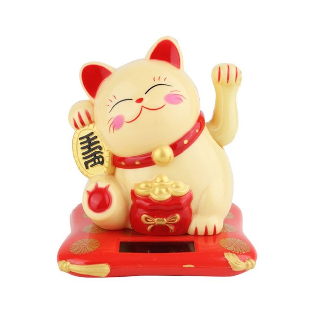 Solar Powered Ceramic Lucky Cat Maneki Neko Shaking Arm Beckoning Fortune Cat Home Car Decoration Gift Wealth Waving Arm Cat 2