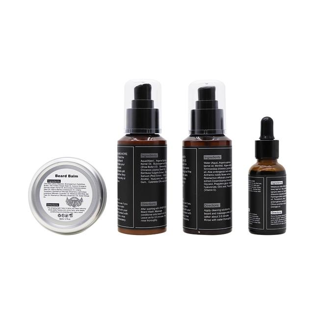 4PCS Beard Oil Beard Balm Men Beard Wash and Conditioner Set Natural Beard Growth Essential Oil Kit Male Beard Care Cleaning Kit 2