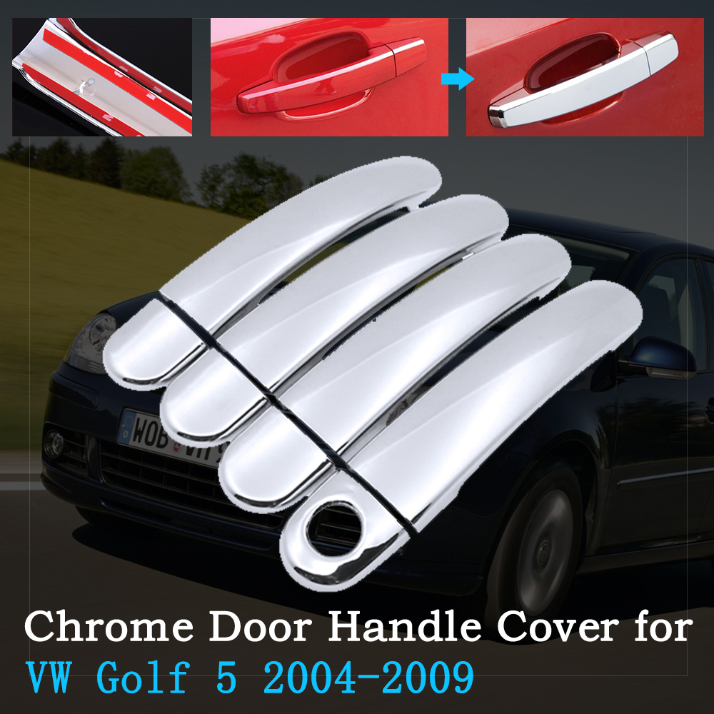 Chrome Car Door Handle Cover for Volkswagen <font><b>VW</b></font> <font><b>Golf</b></font> <font><b>5</b></font> MK5 <font><b>Golf</b></font> V Rabbit 1K <font><b>GTI</b></font> 2004~2009 Trim Set Exterior <font><b>Accessories</b></font> 2005 2008 image