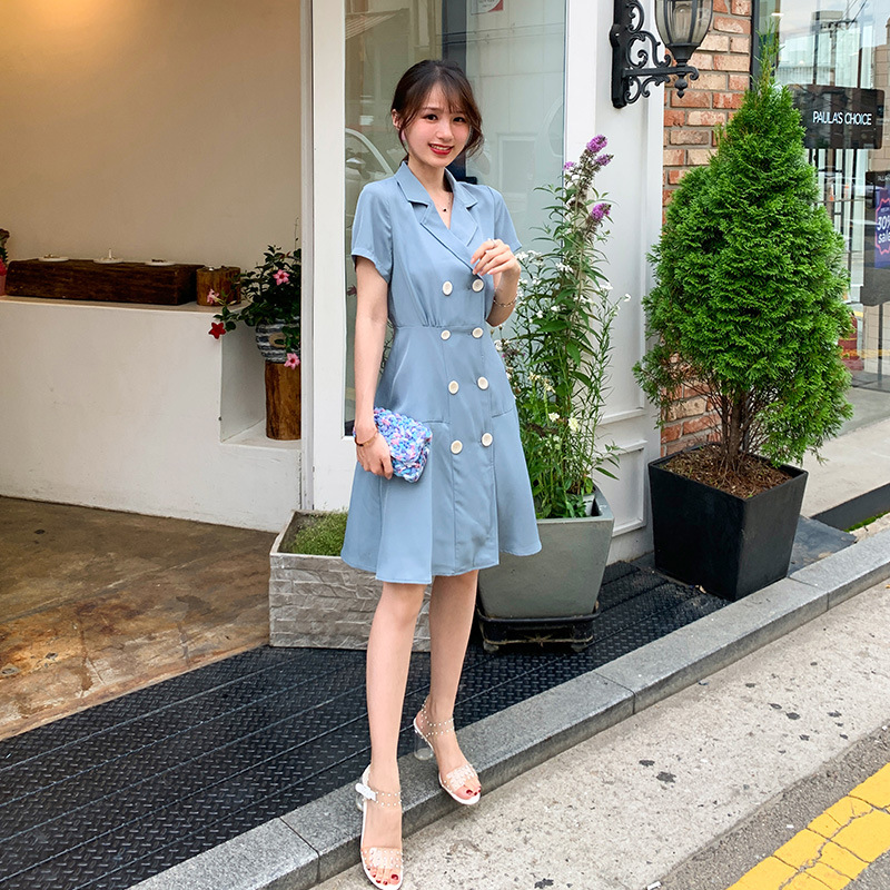 2019 summer new Korean version of the playful double-breasted solid color suit collar folds waist slim slimming dress
