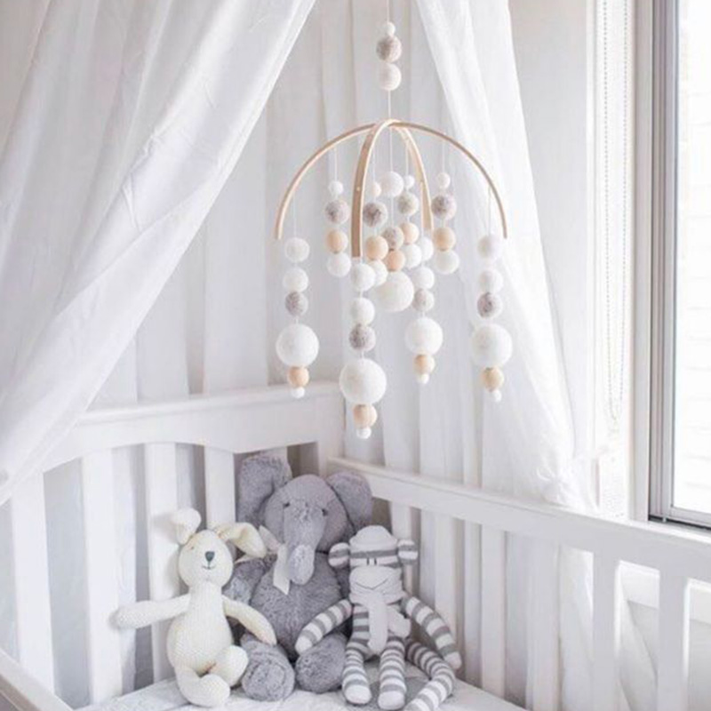 INS Nordic Baby Mobile To Bed Wool Felt Balls Wooden Baby Shower Nursery Baby Room Decor Hanging Garland Crib Hanging Bed Bell