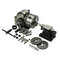 BS 0 Dividing Head 5 inch Tailstock 100MM 3 Jaw Lathe Chuck Precision Semi Rotary Axis for CNC Milling Machine