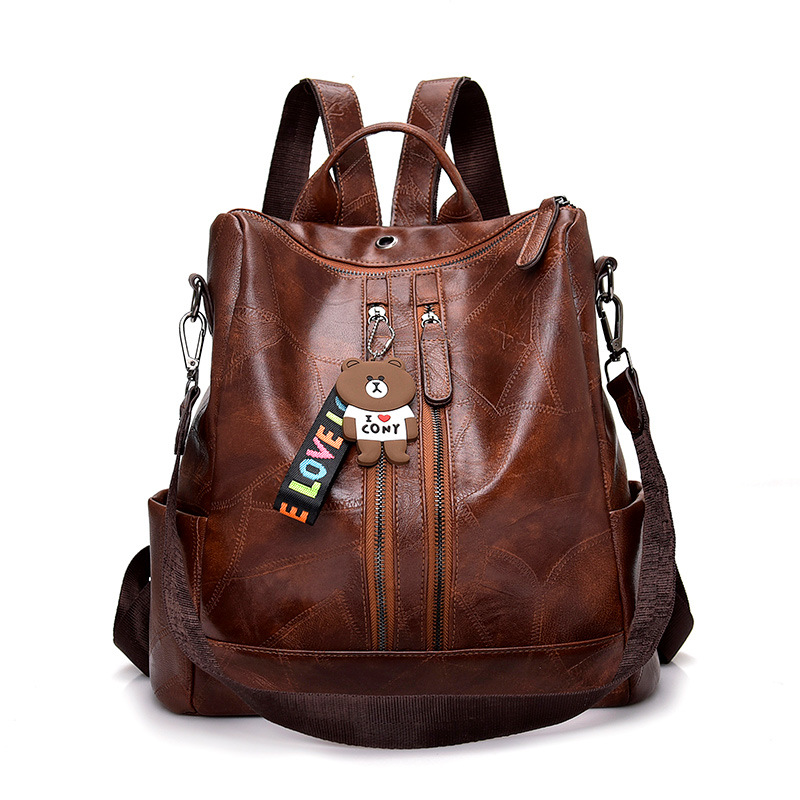Fashion classic women's backpack high quality youth leather backpack college student laptop bag travel leisure backpack mochila image
