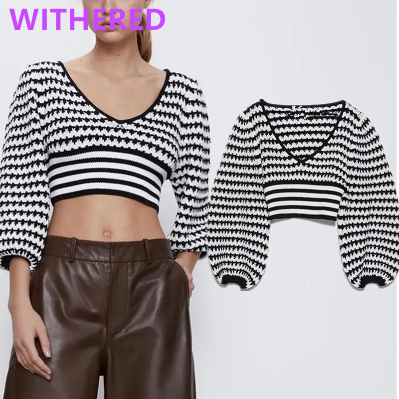 Withered England High Street Vintage Puff Sleeve Knitted Short Sexy Sweaters Women Pull Femme Sweaters Women Pullovers Crop Tops