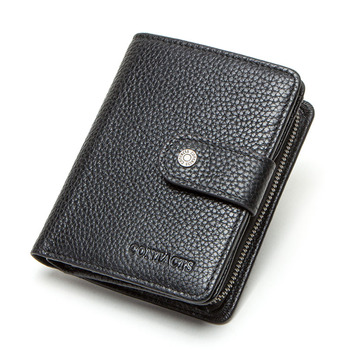 Contact's Genuine Leather Wallets Women Men Wallet Short Small Rfid Card Holder Wallets Ladies Red Coin Purse Portfel Damski 9