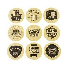 90 Pcs/lot 9 Design Handmade Style Vintage Kraft Paper Thank You Circle Seal Sticker/Dia 4cm Round Packaging Label