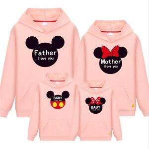 Толстовка с капюшоном для папы и меня, осенняя хлопковая рубашка с Микки и Минни Маус для мамы и дочки, Семейные комплекты