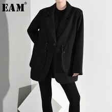 [EAM] Women Black Brief Drawstring Blazer New Lapel Long Sleeve Loose Fit Jacket