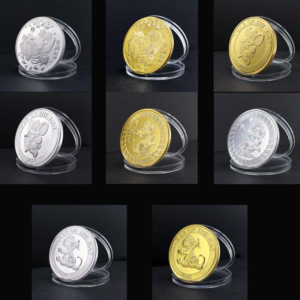 Pièces commémoratives porte-bonheur argent or | Argent, année du Rat, pièces de monnaie de 1 once