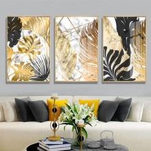 Folha preta dourada plantas pintura da lona de mármore nórdico cartazes e cópias da arte parede fotos para sala estar moderna decoração casa
