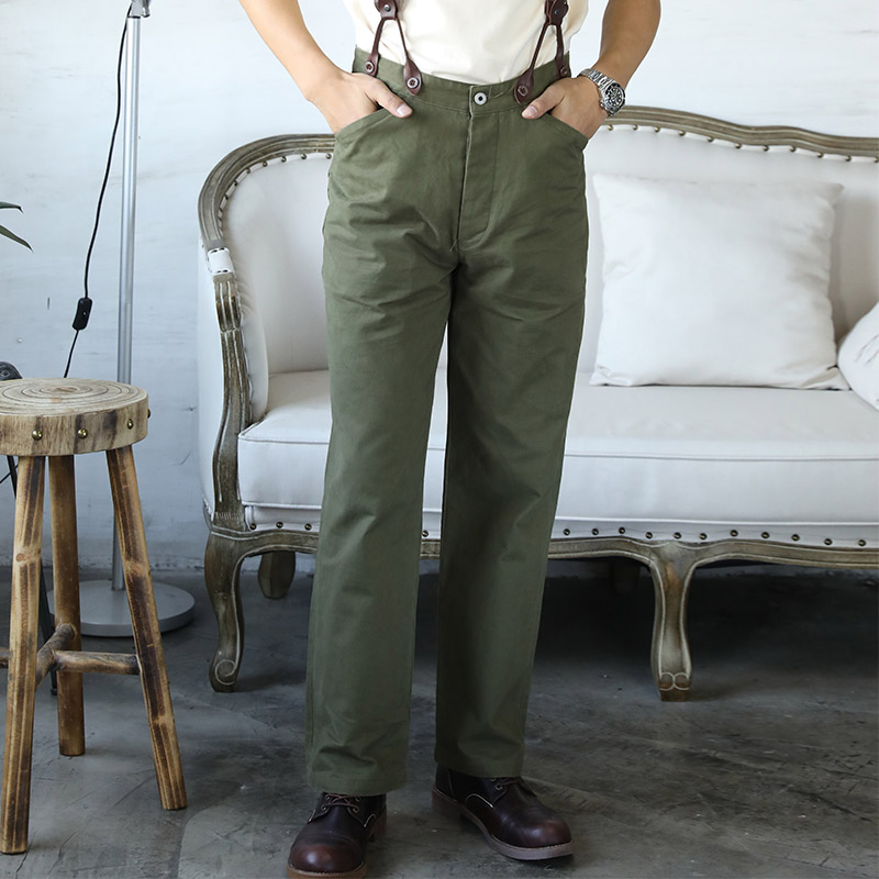 CK-0010 world war 2 US Army Officer mans trousers heavy 310 GSM high waist cotton casual chino vintage pants 3 colours