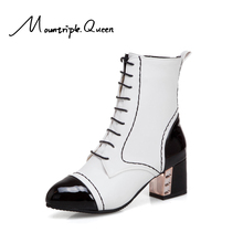 New Winter Shoes Women Square Heels Ankle Boots 2019 Fashion Christmas Mixed Colors Lace Up Martin for White Black