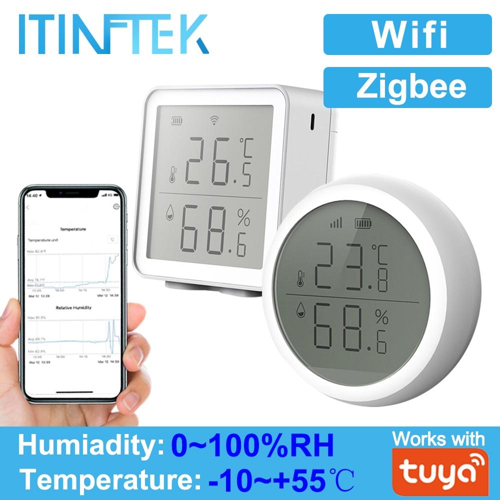Tuya WIFI Zigbee czujnik temperatury i wilgotności kontroler miernik kryty higrometr termometr z wyświetlaczem LCD dla inteligentnego domu