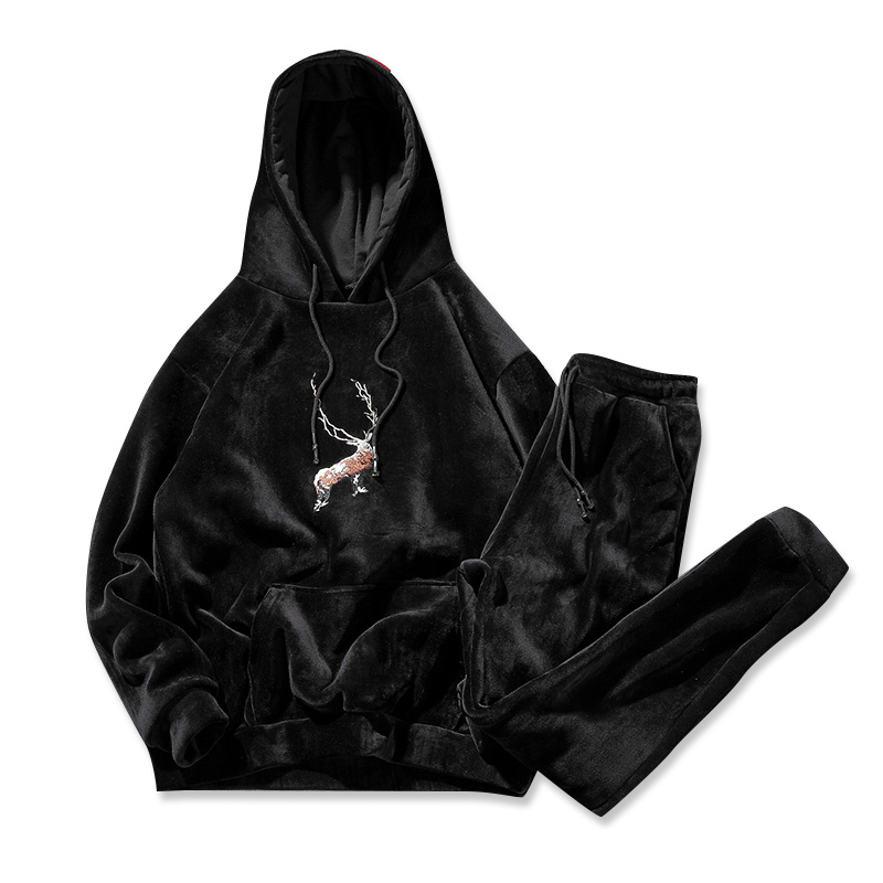Men Velour Velvet Full Hoodies Gym TrackSuit Sport Sweats Jacket Coat Bottom Top Suit Trousers Pants Track Suit Outfit Deer Elk