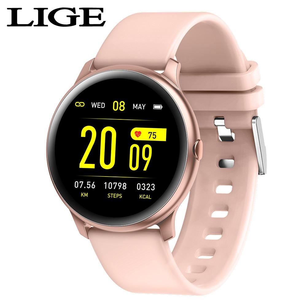 Lige moda esportes relógio inteligente das mulheres dos homens de fitness rastreador homem monitor de freqüência cardíaca função pressão arterial smartwatch para iphone
