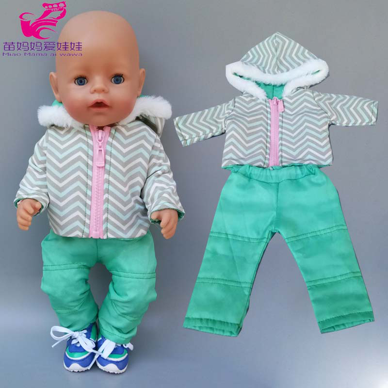 Doll Clothes Baby New Born Doll Ski Jacket 18 Inch American Generation Girl Doll Winter Fur Coat