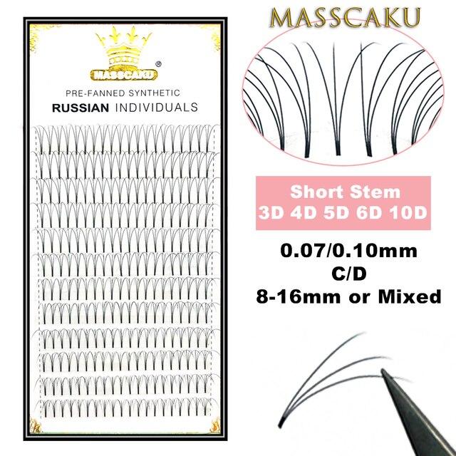 MASSCAKU Lashes Premade 와이드 팬 3d/4d/5d/6d/10d/20d 짧은 줄기 러시아어 볼륨 전문 속눈썹 확장 Faux Mink
