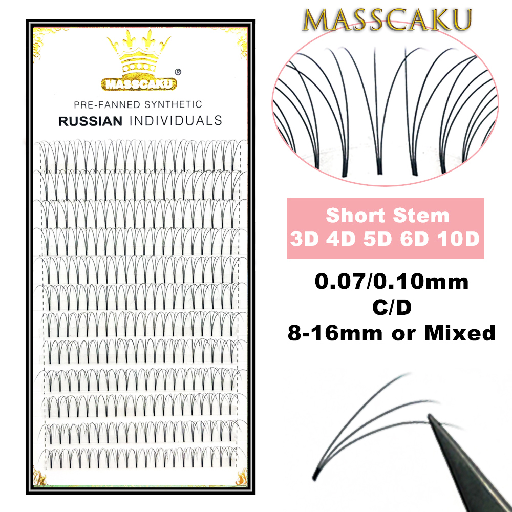 MASSCAKU Lashes Premade Volume Wide Fans 3d/4d/5d/6d/10d Short Stem Russian Volume Professional Eyelash Extensions Faux Mink
