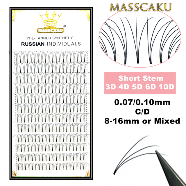 MASSCAKU Lashes Premade Volume Wide fans 3d/4d/5d/6d/10d Short Stem Russian Volume Professional Eyelash Extensions Faux Mink