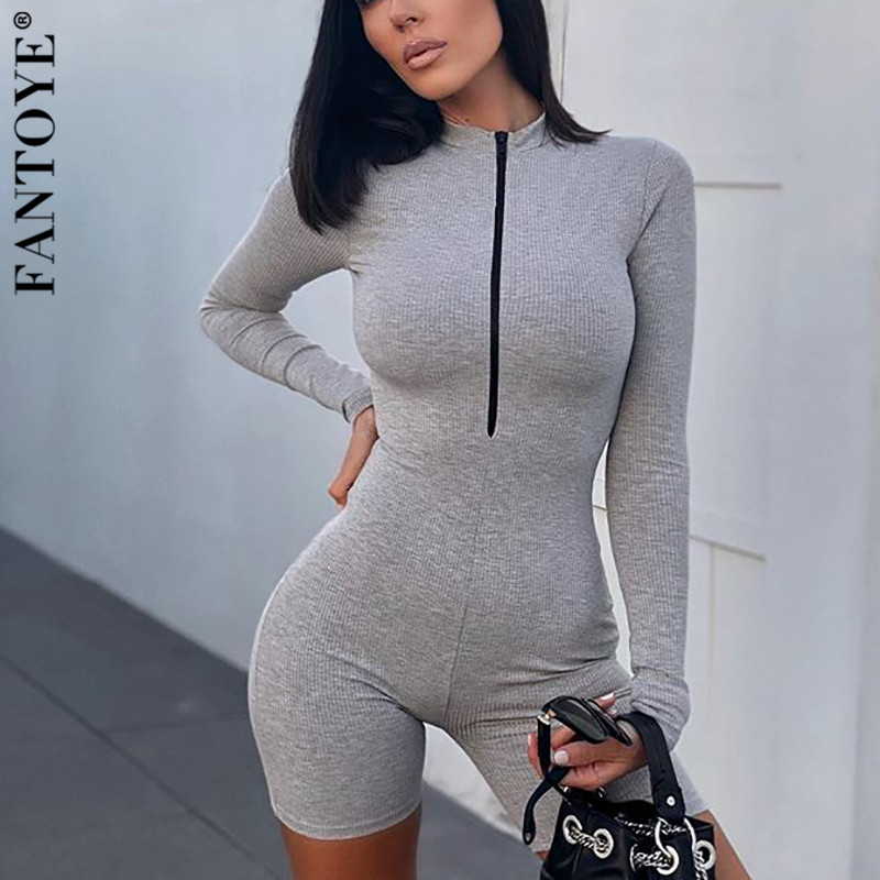 FANTOYE Zipper Knitted Skinny Playsuit Women Long Sleeve Skinny Bodycon Rompers Jumpsuit Female New Casual Elastic Gray Overalls