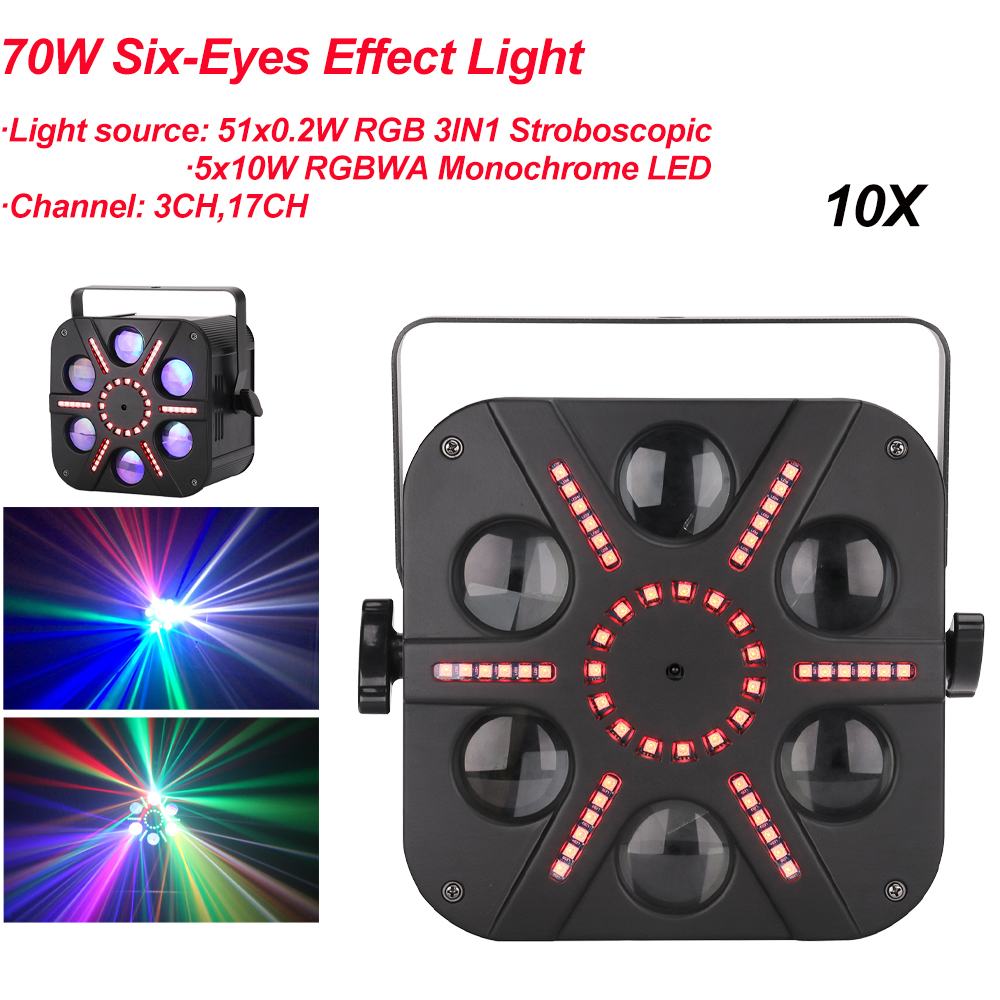 10Pcs/Lot 70W LED Disco 6 Eyes Effect Light DJ Ball Lamp DMX512 Sound Activated Laser Projector Light For Music Christmas Party