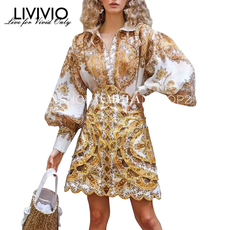 [LIVIVIO] Vintage Print Shirt For Women Stand Neck Lantern Sleeve Hollow Out Mini Skirt Female Fashion Clothes 2019 Autumn New