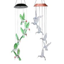 цена Household Led Solar Particle Ball Star Moon Garden Bell Light Solar Hummingbird Color Wind Chime Light
