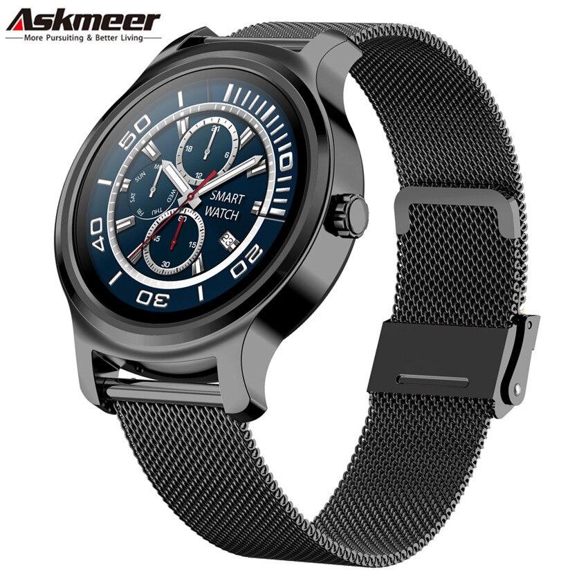 ASKMEER R2 Bluetooth appel montre intelligente Couple hommes femmes écran tactile rappel d'information Sport Fitness fréquence cardiaque Smartwatch