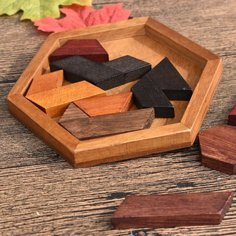 IQ Game Props Wooden Geometric Hexagons Intelligence Jigsaw Puzzle Baby Kid Educational Toy New Arrival