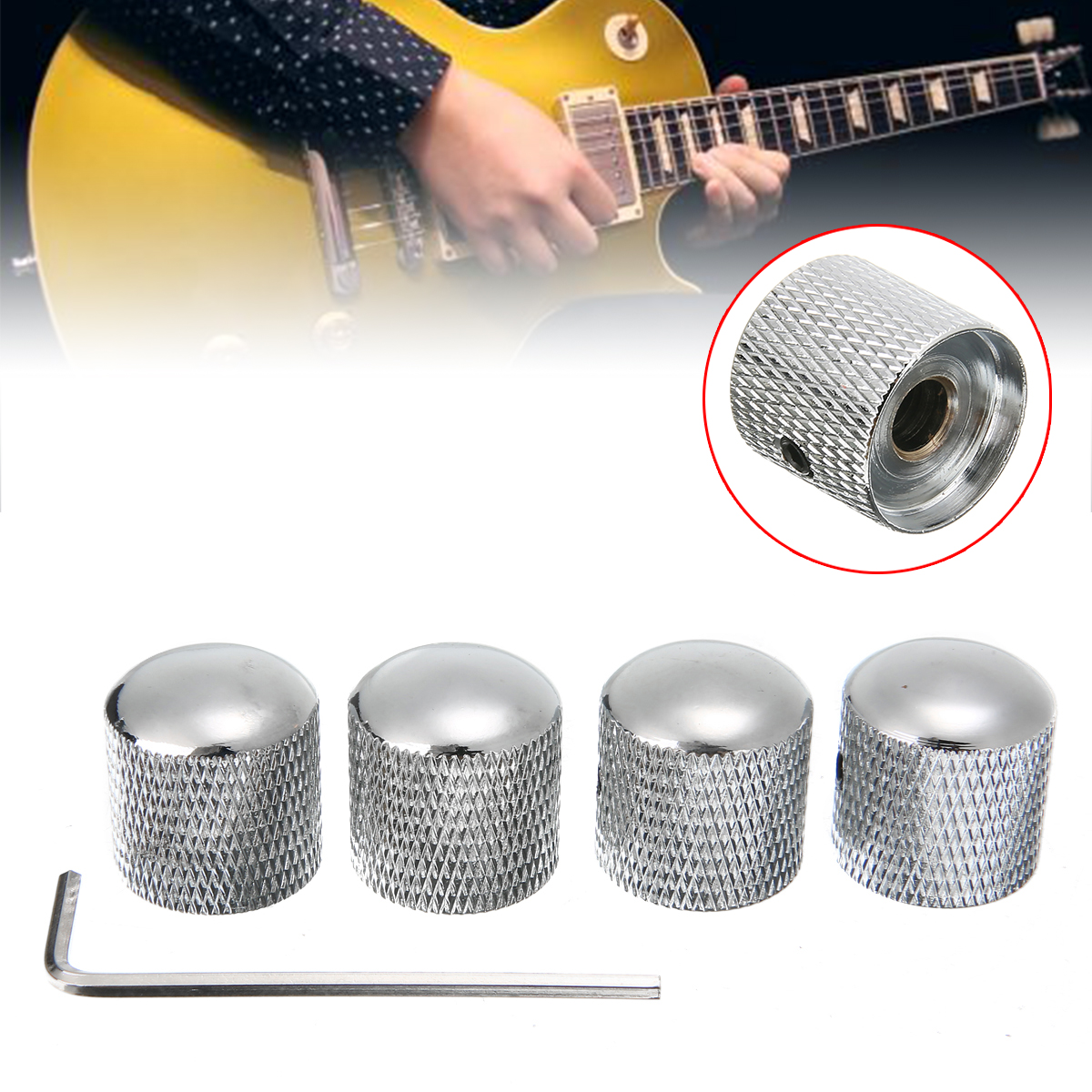 4pcs Silver Chrome Metal Tele Telecaster Guitar Dome Knobs Bass Knob + Wrench Volume Control Knobs Instruments Accessories