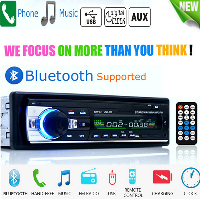 Bluetooth Autoradio Car Stereo Radio FM Aux Input Receiver SD USB JSD-520 12V In-dash 1 din Car MP3 Multimedia Player image