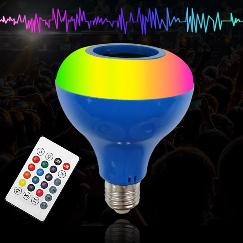 18W E27 Smart RGB Bluetooth Speaker LED Bulb Light Music Playing Dimmable Wireless Led Lamp With 24 Keys Remote Control
