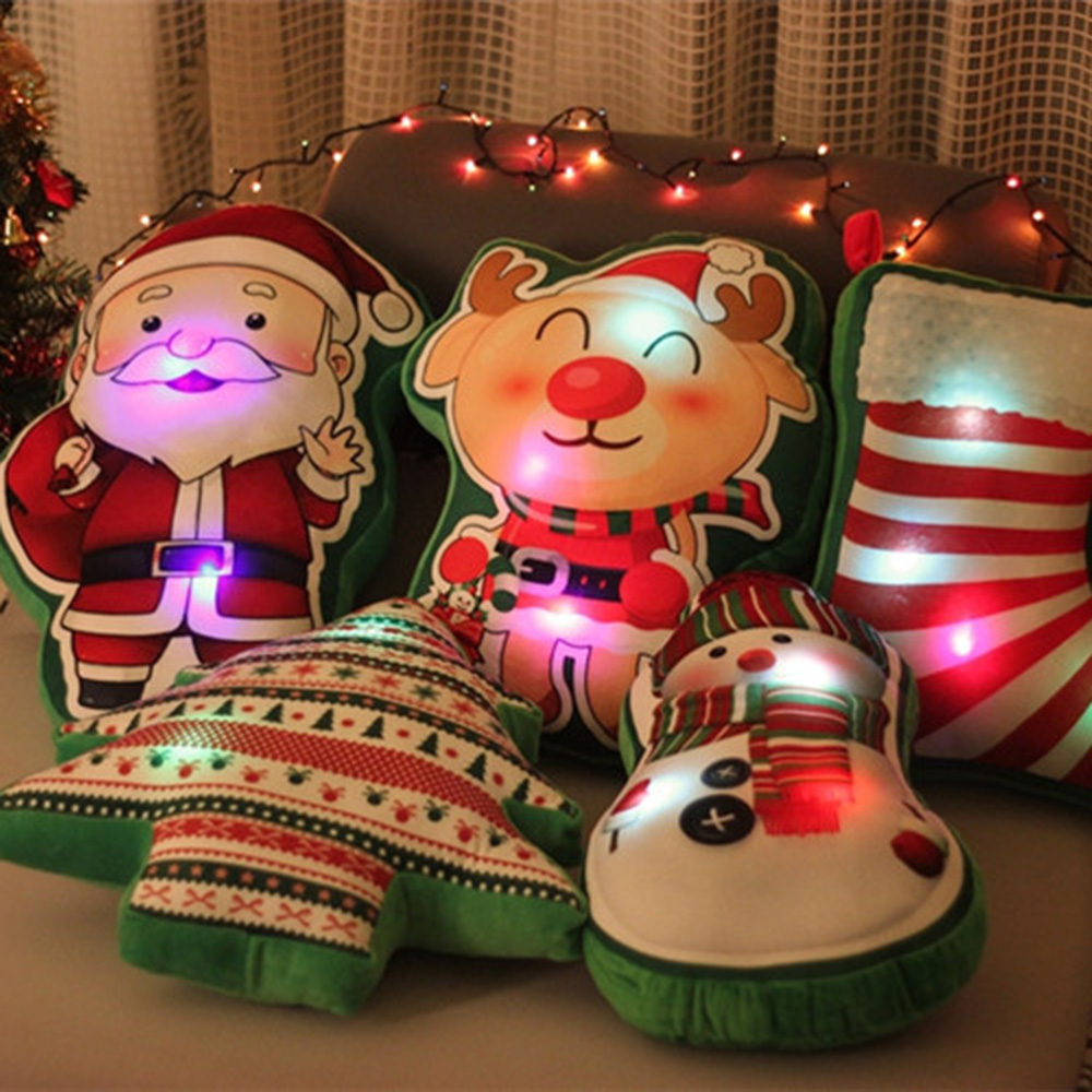 45cm 3D Light Up LED Sing A Christmas Song Colorful Glowing Luminous Plush Santa Claus Stuffed Doll Toys Lovely Gifts For Kid