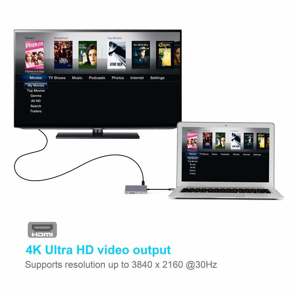 Usb C Hub 8 In 1 Aluminium Multi Port Adapter Hoge Snelheid Usb C Hub Naar Hdmi Male Type C combo Hub Voor Macbook Pro # LR4
