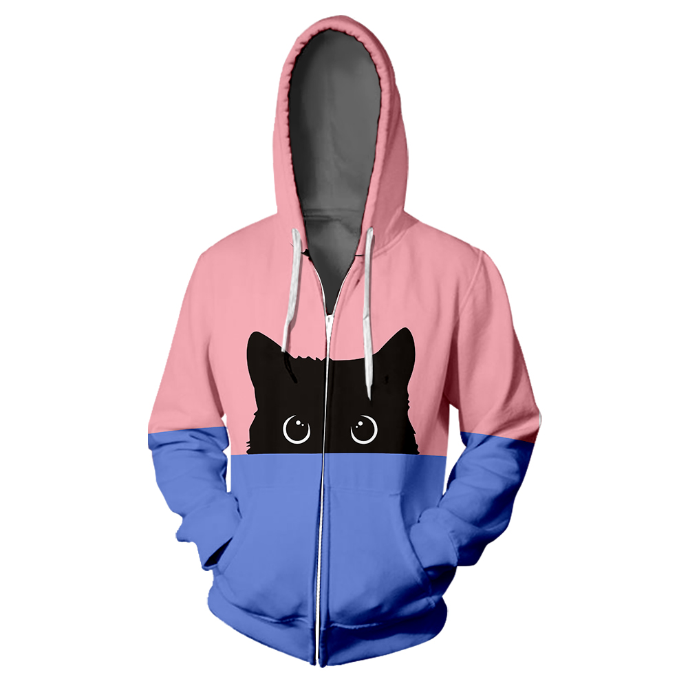Kawaii Black Cat Fashion Zipper Hoodie Casual Two-tone Split Color Print Woman 3D Colorful Hooded Cute Pussy Zipper Sweatshirt