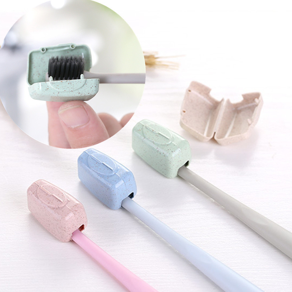 4 PCS Set Portable Travel Toothbrush Cover Wash Brush Cap Case Box Funda portátil para cepillo de dientes para viajes senderismo
