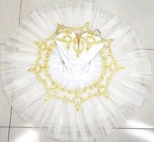 White Ballet Tutu Womens platter tutu gold professional ballet costumes child performance pancake