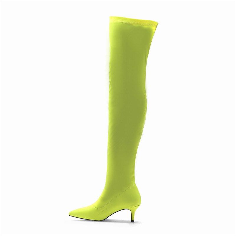 Эластичные зеленые сапоги из лайкры женские сапоги выше колена на среднем каблуке 5,5 см новые демисезонные сапоги до бедра без застежки Бол... - 6