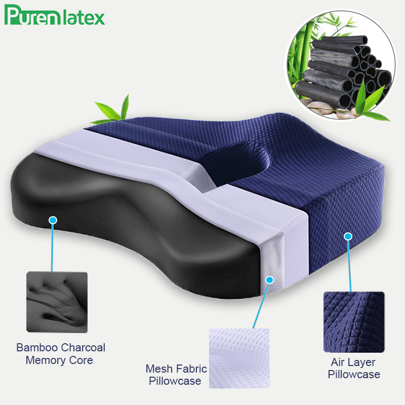 Purenlatex Bamboo Charcoal Memory Foam Orthopedic Pillow Office Chair Cushion Car Seat Adult Student Hemorrhoid Vertebra Treat