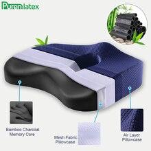 Purenlatex Bamboo Charcoal Memory Foam Orthopedic Pillow Office Chair Cushion Car Seat Adult Student Hemorrhoid Vertebra Treat