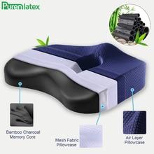 Purenlatex bambou charbon de bois mousse à mémoire orthopédique oreiller chaise de bureau coussin siège de voiture adulte étudiant hémorroïde vertèbre traiter