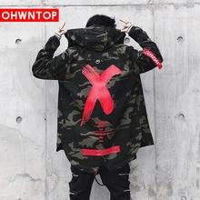 Newest Men Jacket High Street Spring Camouflage X Print Jackets Fashion Cotton Windbreaker Coat Male Hood Hip Hop Streetwear