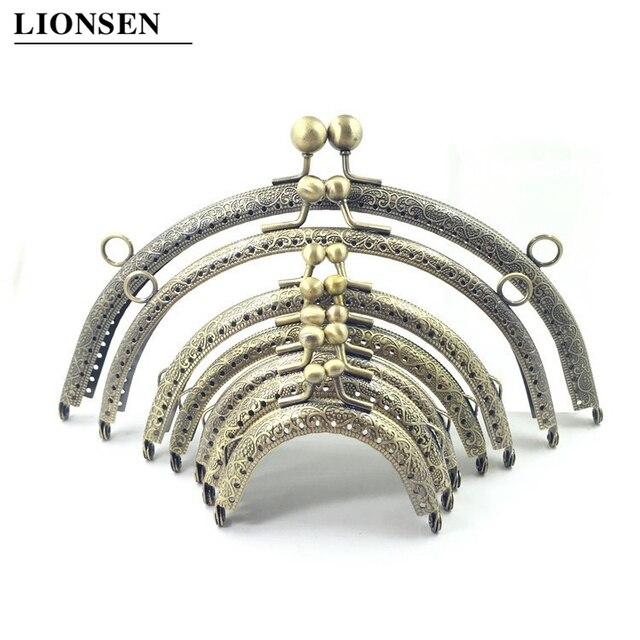 LIONSEN 6.5/7.5/8.5/10.5/12.5/15/18/20cm DIY Metal semicirc Frame Purse Handle Coin Bags Metal Kiss Clasp Lock Frame Accessories 1