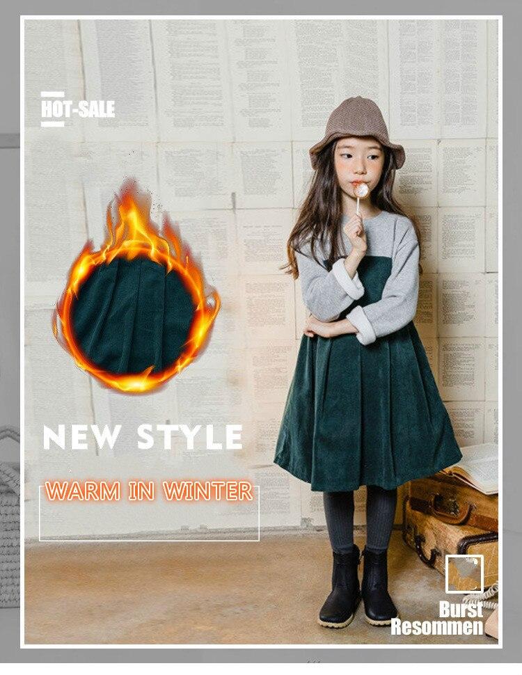 Зимнее платье для девочек осенне осеннее корейское платье с длинными рукавами милое бархатное платье принцессы для подростков, костюм для школы