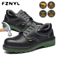FZNYL Men Work Boots Steel Toe Cap Anti-smashing Anti-piercing Protection Footwear Non-slip Wear-resisting Safety Shoes Black