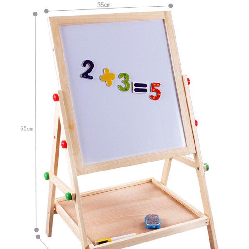 Enfants en bois levage double face magnétique planche à dessin chevalet croquis graffiti peinture cadre puzzle apprentissage tableau noir jouet - 3