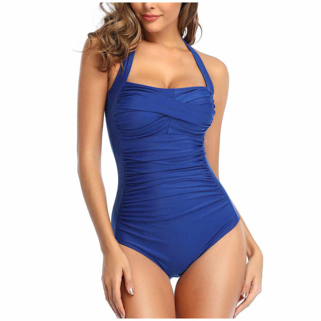 2020 Seksi Baju Renang Wanita Baju Renang One Piece Bodysuit Push Up Monokini Halter Silang Pakaian Renang Baju Renang Memakai Wanita Beachwear