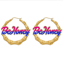 Hoop-Earrings Jewelry Acrylic customized-Name Bamboo Personalized Women Big for Round