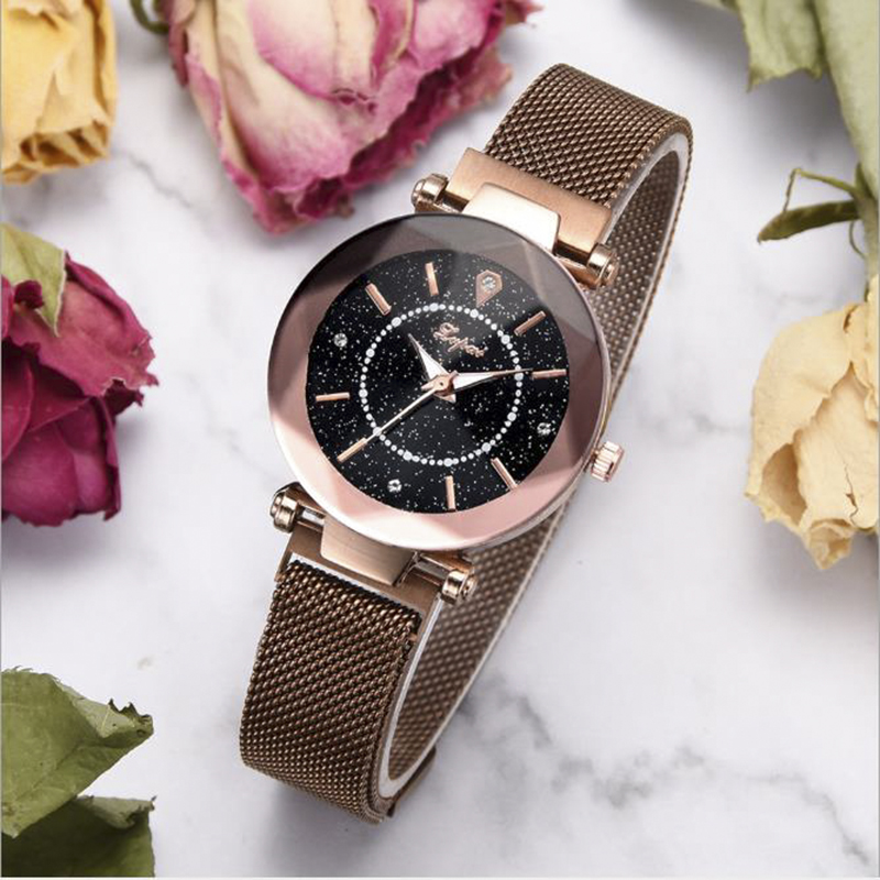 Starry Sky Quartz Women Wrist Watches Luxury Rhinestone Ore Dial Alloy Magnet Ladies Watch Clock Roman Watch Reloj De Mujer